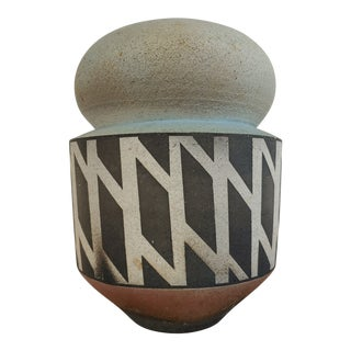 1990 Raku Geometric Artisan Signed Vase For Sale