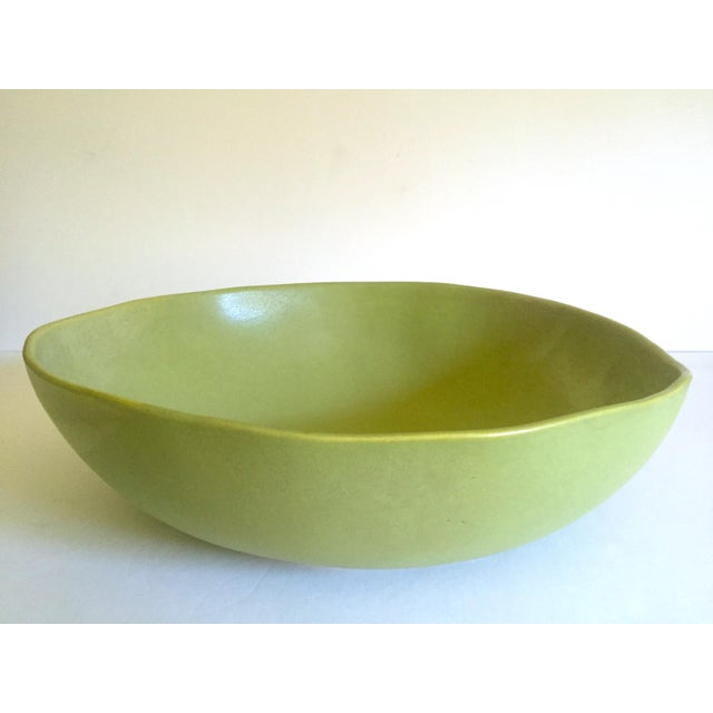 Alex Marshall Studios Pottery Vintage Organic Modernist Extra Large Chartreuse Ceramic Serving Bowl For Sale - Image 13 of 13
