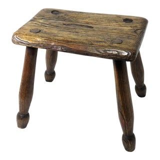 Mid 19th Century Antique Country Primitive Wood Fireside Stool For Sale
