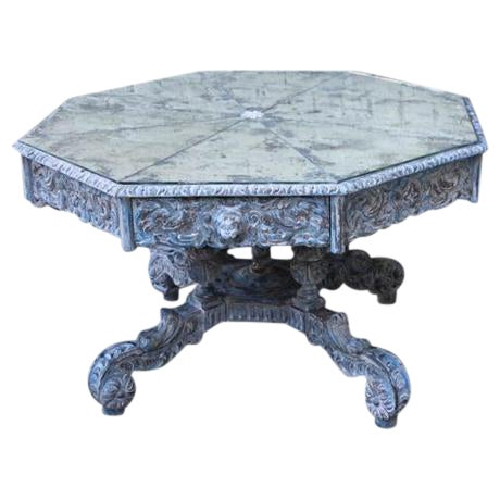 French Provincial Octagonal Painted Center Dining Table - Image 1 of 8