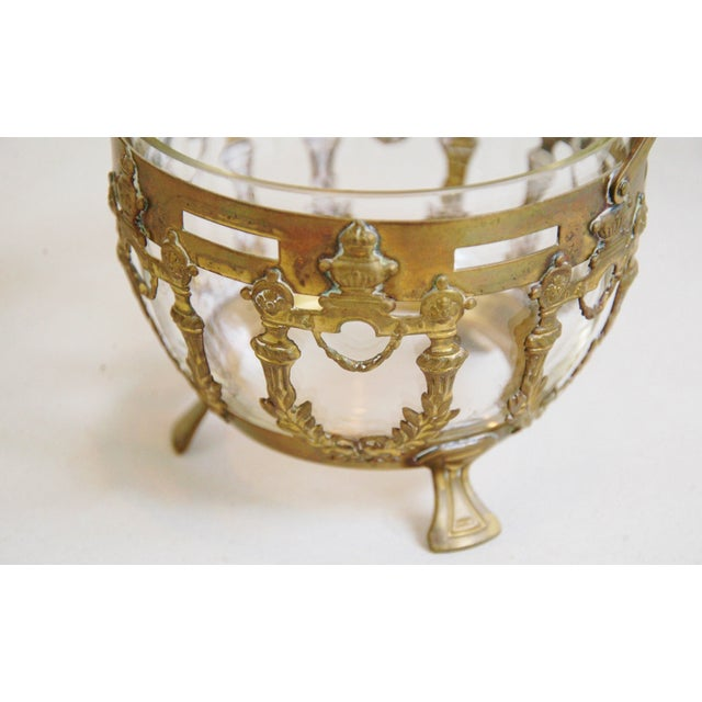 Antique Brass Filigree & Crystal Basket - Image 6 of 10