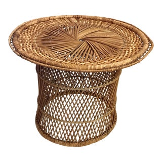 Late 20th Century Vintage Natural Wicker Table For Sale