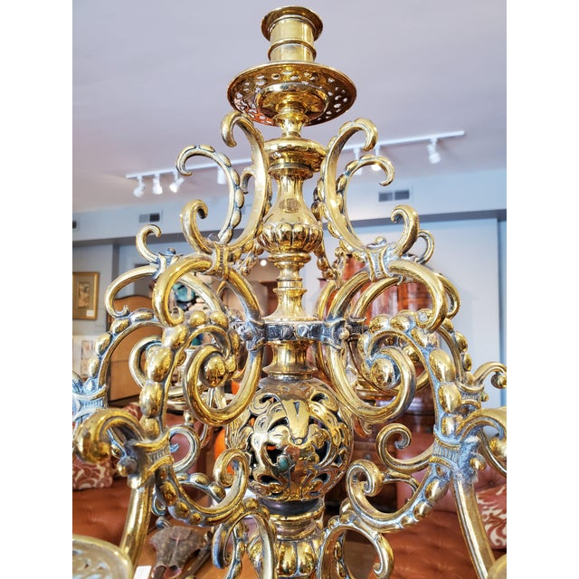 Brass 19th Century Russian Brass Candelabra Candleholders - a Pair For Sale - Image 8 of 10