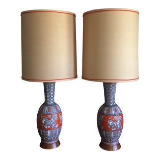 Pair of Mid-Century Modern Italian Pottery Raymor Lamps by Fratelli Fanciullacci For Sale