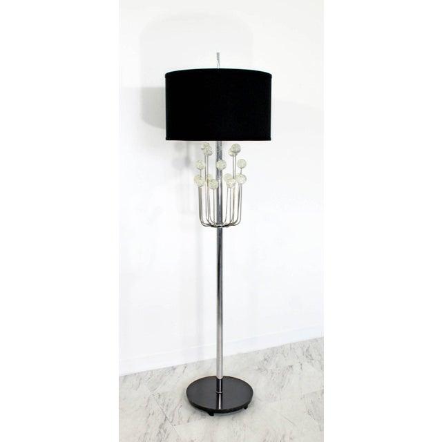 Mid-Century Modern Mid-Century Modern Chrome Floor Lamp Lucite Balls by Laurel For Sale - Image 3 of 11