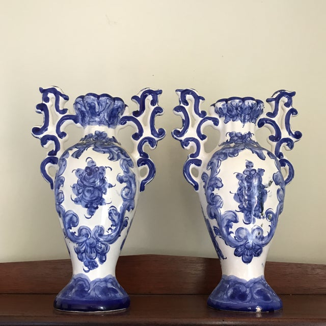 Mediterranean 1970s Portuguese Blue White Ceramic Vases - a Pair For Sale - Image 3 of 8