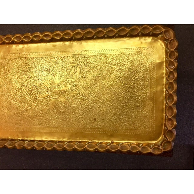 Moroccan Style Hand-Etched and Hammered Brass Tray Top Table For Sale - Image 10 of 12