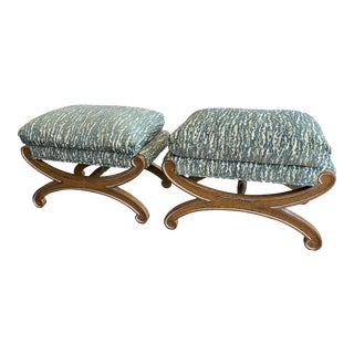 Pair of Curule Stool X-Benches With Upholstered, Down-Filled Cushions For Sale
