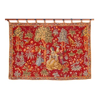 Belgian Tapestry on Wood Rod For Sale