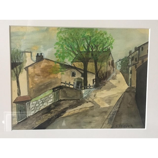 """Modern Impressionist """"Village"""" Watercolor Painting For Sale - Image 3 of 6"""