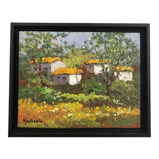 1950s Impressionist Red Roofs Painting by Mastro Vito