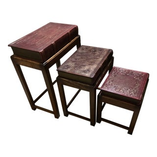 Maitland Smith Style Sarried Book Nesting Tables - Set of 3 For Sale