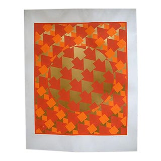 Modernist Op Art Metallic Geometric Silkscreen Poster