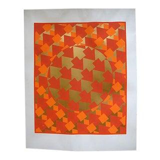Op Art Silkscreen Poster Geometric Orange Gold For Sale