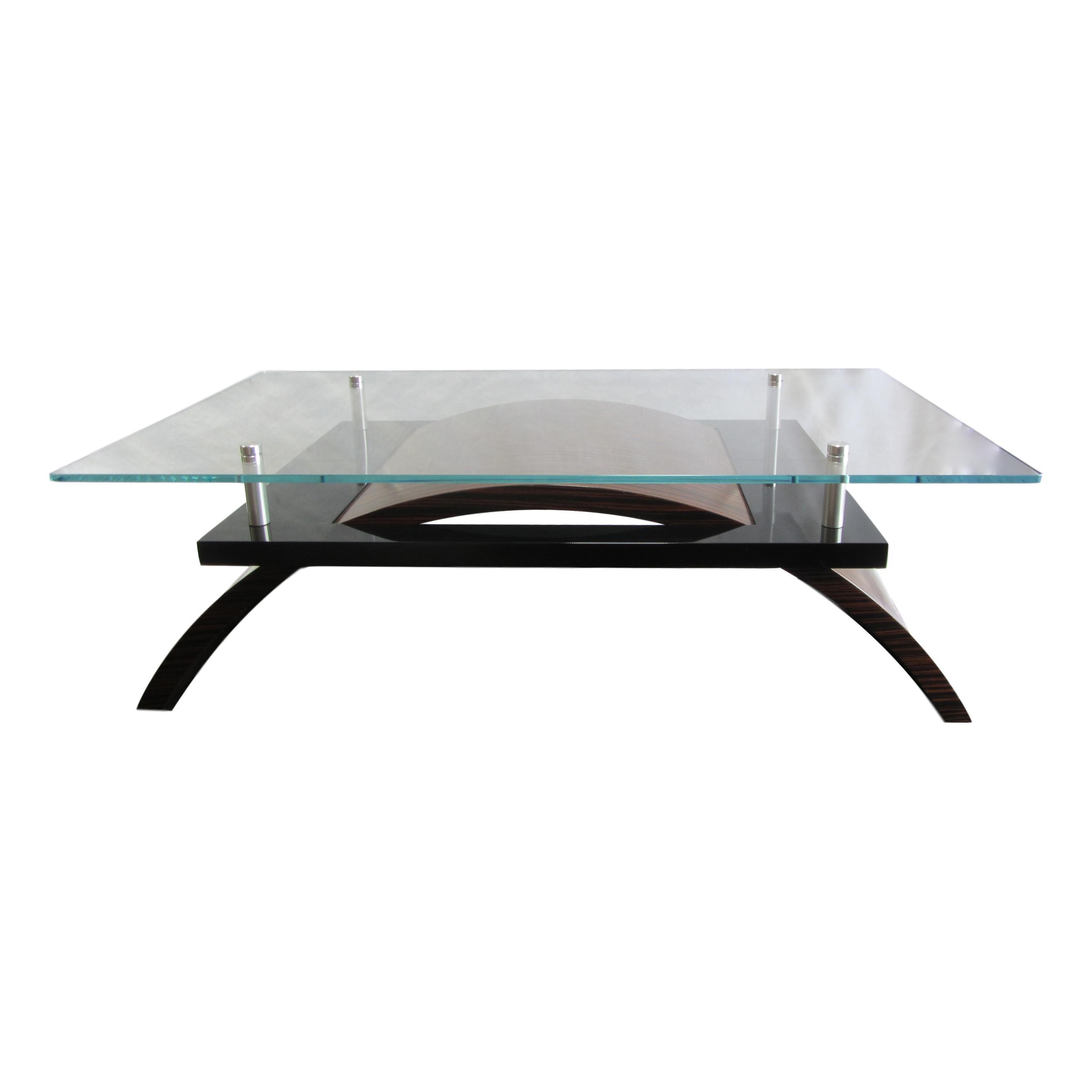 Superb Macassar Ebony Contemporary Glass Cocktail Table