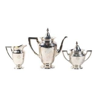 Art Nouveau Alvin Sterling Silver Tea Set - 3 Piece Set For Sale