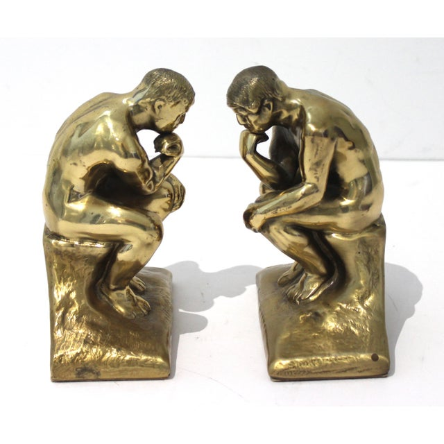 Auguste Rodin Mid-Century Modern Rodin Thinker Style Bookends Book Ends - a Pair For Sale - Image 4 of 11
