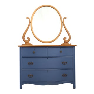 ANTIQUE BLUE DRESSER WITH MIRROR For Sale