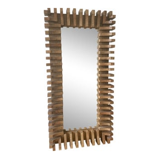 Modern Eclectic Rectangular Wooden Floor Mirror For Sale
