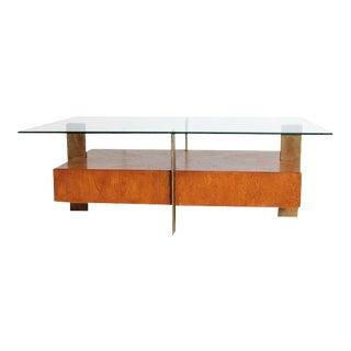 Modern Wood & Metal Coffee Table For Sale