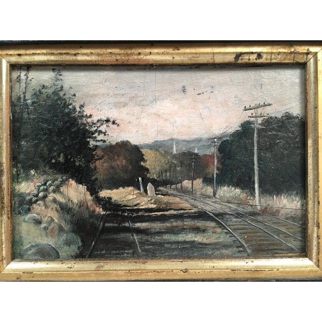 Black 19th Century Small Landscape Painting with Railroad Tracks and Telegraph Poles For Sale - Image 8 of 10