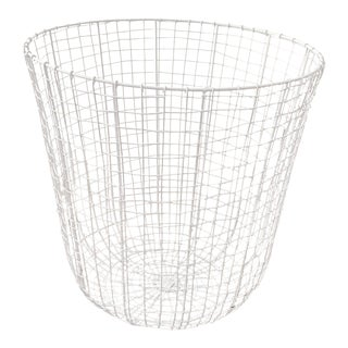 C'est Beau1872 Abstract Pattern White Iron Laundry Basket For Sale