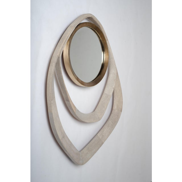 Art Deco Matrix Mirror in Cream Shagreen and Bronze-Patina Brass by R&y Augousti For Sale - Image 3 of 6