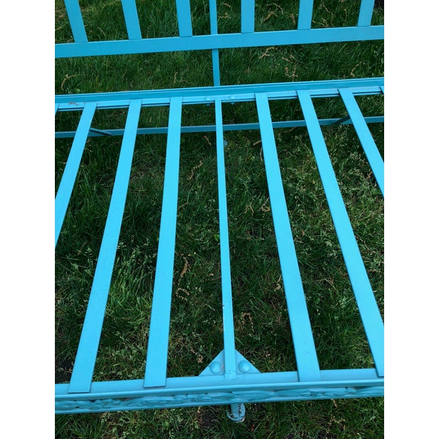 Vintage Woodard Style Blue Wrought Iron Sofa With Harvest Motif For Sale In New York - Image 6 of 9
