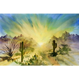 Desert Sunrise Watercolor Painting For Sale
