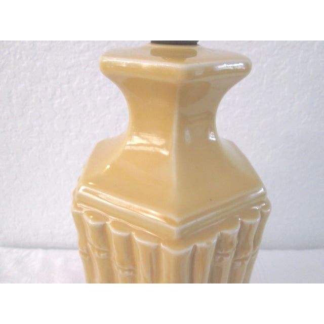 Midcentury Yellow Bamboo Design Table Lamp - Image 7 of 7