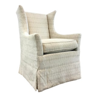 Hickory Chair Transitional White Skirted Janson Wingback Chair For Sale