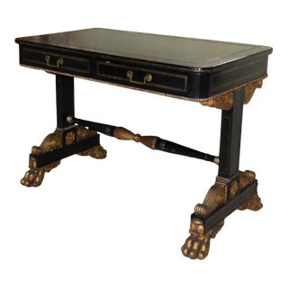 Neoclassical Maitland Smith Leather Writing Desk With Giltwood Trim For Sale