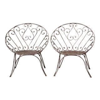 Pair of 19th Century French Polished Iron Outdoor Armchairs For Sale