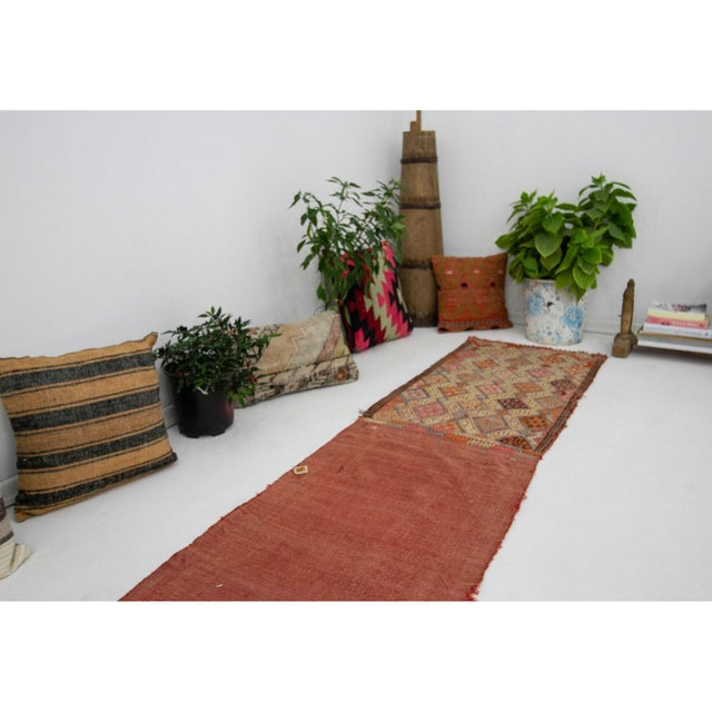 1960s Vintage Embroidered Decorative Kilim Rug- 1′11″ × 7′6″ For Sale In Los Angeles - Image 6 of 7