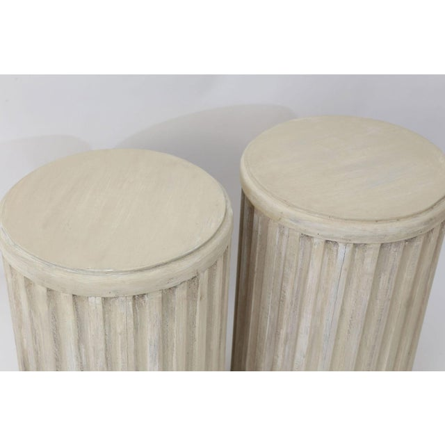 2010s Two Painted Pedestal Tables For Sale - Image 5 of 12