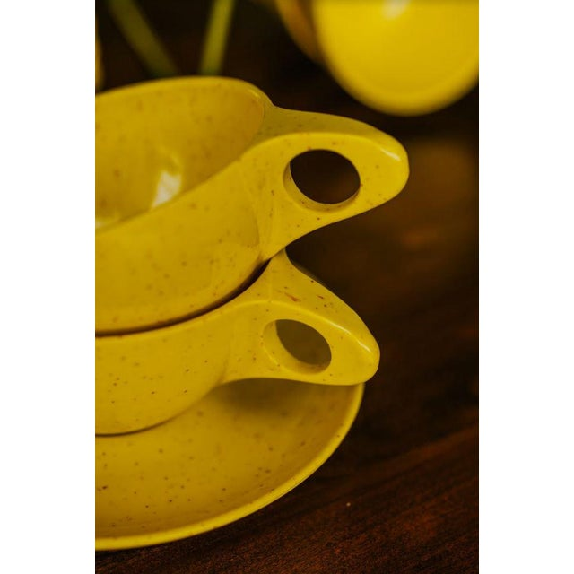 Plastic Holiday by Kenro Yellow Cups and Saucers - Set of 10 For Sale - Image 7 of 10