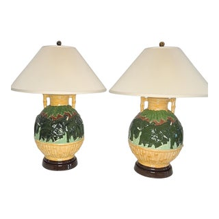 1979 Ceramic Elephant Lamps With Shades - a Pair For Sale