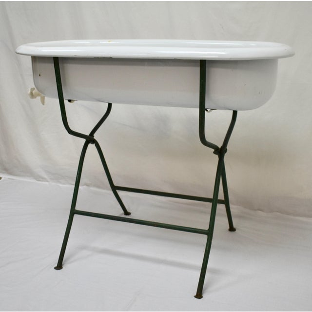 Ceramic Vintage Porcelain Enamel Baby Bath on Folding Wrought Iron Stand For Sale - Image 7 of 13