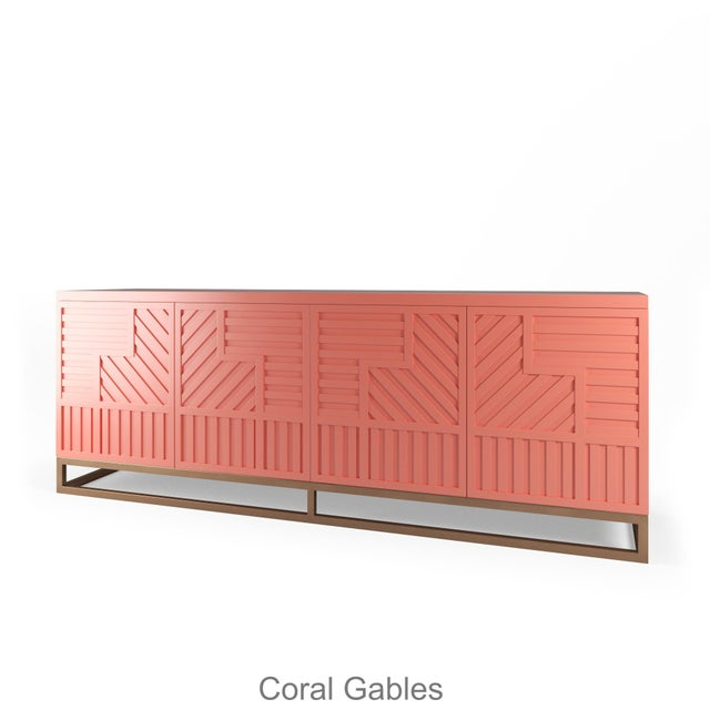 Not Yet Made - Made To Order Stria Credenza - Brushed Brass Base, Coral Gables For Sale - Image 5 of 5