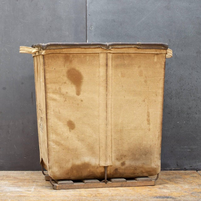 Vintage Petite 1940s Industrial Canvas Laundry Clothing Textile Bin Basket For Sale - Image 4 of 7