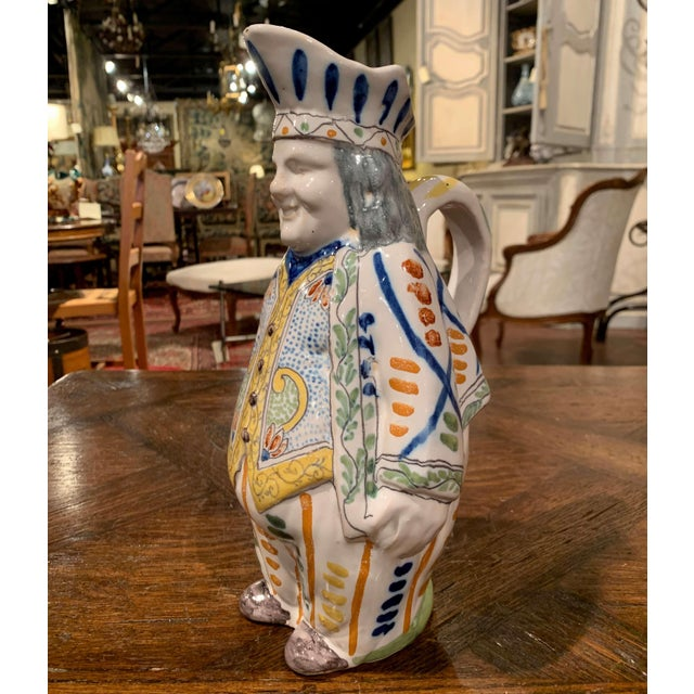 19th Century French Painted Barbotine Ceramic Chef Pitcher in Uniform For Sale - Image 4 of 11
