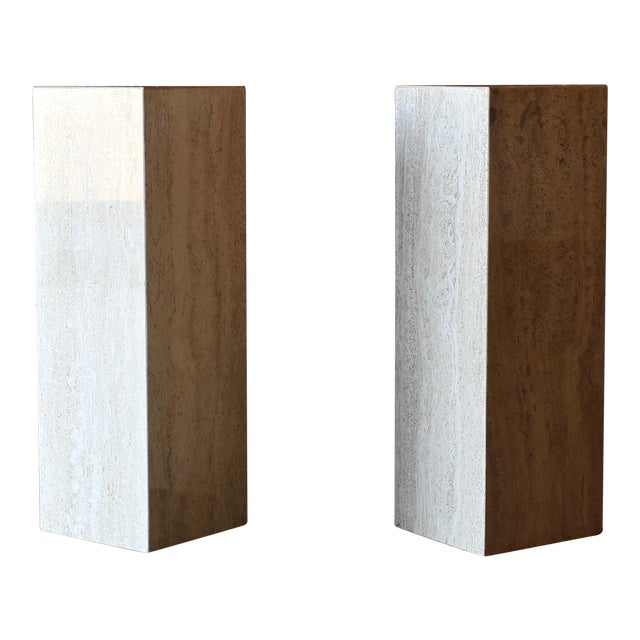 Travertine Pedestals Circa 1980 - a Pair For Sale