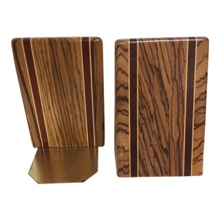 Mid-Century Modern Inlaid Exotic Wood Bookends - A Pair