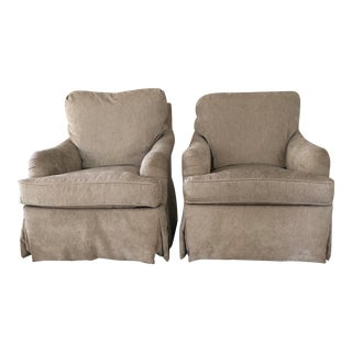 Delaney Swivel Chairs in Taupe Chenille - a Pair For Sale