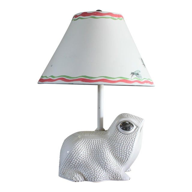 Vintage Italian White Ceramic Hobnail Frog Lamp With Hand Painted Shade in the Style of Jean Roger For Sale