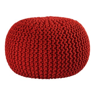 Modern Red Pouf Ottoman Seat For Sale