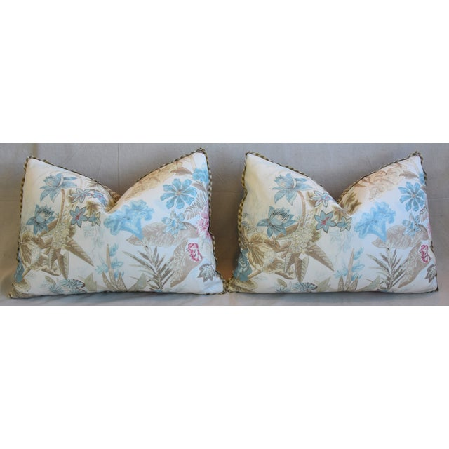 "Cowtan & Tout Floral Linen Feather/Down Pillows 26"" X 18"" - Pair For Sale In Los Angeles - Image 6 of 13"