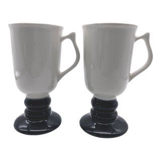 Vintage Hall Black and White Pottery Footed Pedestal Irish Coffee Mugs - a Pair For Sale
