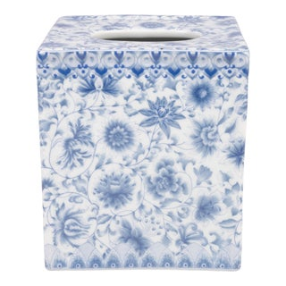 Blue and White Floral Theme Porcelain Tissue Box Holder For Sale