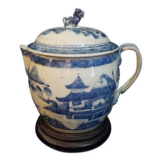Large Canton Porcelain Jug and Cover For Sale
